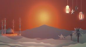 Pappers- konstsikt av solnedgångöknen med moskén stock illustrationer