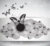 Pappers- kort för gåva med fjärilar och abstrakt begreppkrausens stock illustrationer