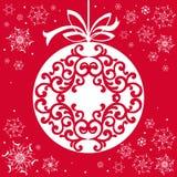 Pappers- kort för jul med den hängande leksaken Julappliquebackgr royaltyfri illustrationer