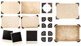 Pappers- kort för tappning med hörnet, foto, ögonblickligt foto, vykort Royaltyfri Bild