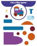 Pappers- lek för utvecklingen av förskole- barn Snittdelar av bilden och limmet på papperet Arkivbild