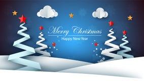 Pappers- lyckligt nytt år för tecknad film glad jul stock illustrationer