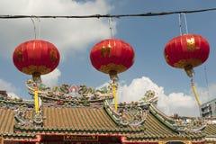 Pappers- lyktor för kines i kinesiskt nytt år, Yaowaraj porslintown Arkivbilder