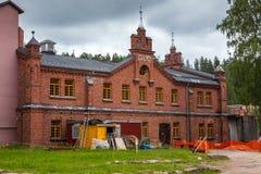 Pappers- mala museet Werla (Verla) på rekonstruktion finland Fotografering för Bildbyråer
