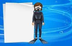 Pappers- mall med flickan i dykapparatdykningdräkt Arkivbilder