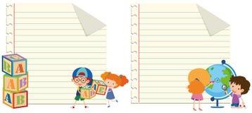 Pappers- mall två med ungar och leksaker vektor illustrationer