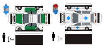 Pappers- modell av ambulansen och polisbilar Royaltyfri Foto