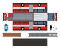 Pappers- modell av en brandlastbil stock illustrationer