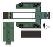 Pappers- modell av en militär behållarelastbil Arkivbilder