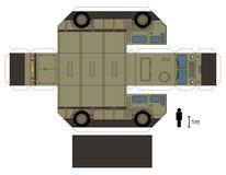 Pappers- modell av en militär lastbil Arkivfoto