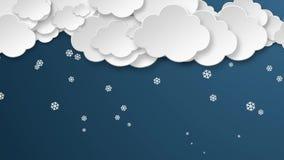 Pappers- moln snöar för nattvintern för flingor fallande bakgrund för väder sömlös royaltyfri illustrationer