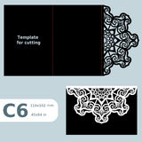 Pappers- openwork kort för hälsning C6, bröllopinbjudan, mall för att klippa Arkivfoton