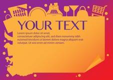 Pappers- orienteringsdesign av shoppingobjekt Royaltyfri Fotografi