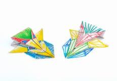 Pappers- origami för bil som isoleras på vit bakgrund Royaltyfri Bild