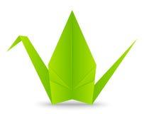 Pappers- origamikran på vit Arkivfoto