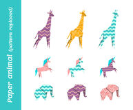 Pappers- origamivektordjur med bytta ut modeller Royaltyfria Bilder