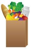 Pappers- påse för livsmedelsbutik av mat royaltyfri illustrationer