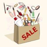 Pappers- påse med kosmetiska produkter för makeup på försäljning stock illustrationer