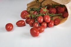 Pappers- påse mycket av körsbärsröda tomater fotografering för bildbyråer