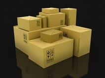 Pappers- packar (den inklusive snabba banan) Arkivfoton