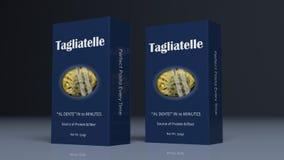 Pappers- packar för tagliatelle illustration 3d Royaltyfri Illustrationer