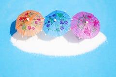 Pappers- paraplyer f?r coctail arkivfoto