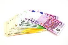 Pappers- pengar för Euro. Royaltyfri Foto
