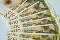 Pappers- pengar för norsk krona av 500 NOK Arkivfoto