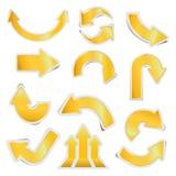 Pappers- pilklistermärkear för guld med skuggor Fotografering för Bildbyråer