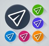 Pappers- plana symboler med skugga Royaltyfri Fotografi