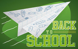 Pappers- plant flyg med klotter för tillbaka till skolan, vektorillustration Royaltyfria Bilder