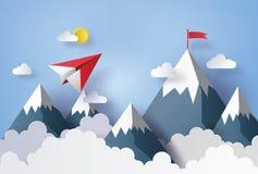 Pappers- plant flyg på himmel royaltyfri illustrationer