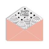 Pappers- postkuvert med ett påskägg, vektor Fotografering för Bildbyråer