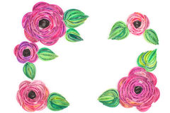 Pappers- quilling som är färgrik skyler över brister blommor Royaltyfri Foto