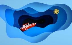 Pappers- röd fartygsegling i havet eller havet, stjärnor, måne, nattloppbegrepp Blåa havsvåglager Modern pappers- konststil 3d stock illustrationer