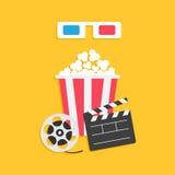 pappers- röda blåa exponeringsglas 3D Öppen uppsättning för symbol för film för bio för popcorn för rulle för film för clapperbrä Royaltyfria Bilder