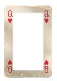 Pappers- ram från drottning av hjärtor som spelar kortet Arkivfoto