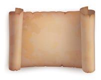 Pappers- rulle eller horisontalgammal snirkel, pergament Arkivfoto