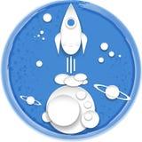 Pappers- rymdskepp för tecknad film Royaltyfri Bild