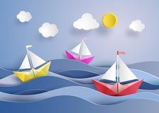 Pappers- segelbåt Royaltyfri Bild