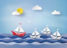 Pappers- segelbåt Fotografering för Bildbyråer