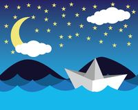 Pappers- skepp i havet vektor illustrationer