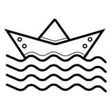 Pappers- skeppsymbol stock illustrationer