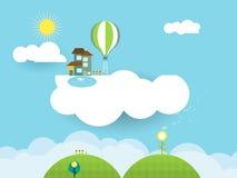 Pappers- snitt-fantasi för landskap hem på molnet Royaltyfria Bilder