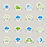 Pappers- snitt - vädersymboler vektor illustrationer