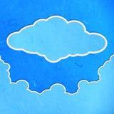 Pappers- snittsky för Rice med moln royaltyfri illustrationer