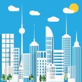 Pappers- stads- stadsbakgrund också vektor för coreldrawillustration Arkivbild