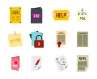 Pappers- symbolsuppsättning, lägenhetstil royaltyfri illustrationer
