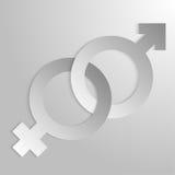 Pappers- tecken av den kvinnliga och manliga början Arkivbilder