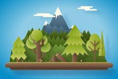 Pappers- trä under illustration för vektor för mall för bakgrund för landskap för berglägenhetdesign Fotografering för Bildbyråer